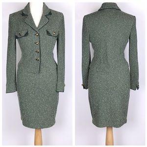 St. John Green Button Down Two Piece Skirt Suit